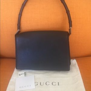 GUCCI BLACK BAMBOO HANDLE LEATHER BAG